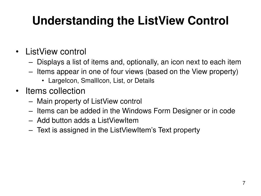 Understanding the ListView Control