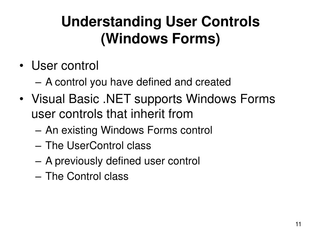 Understanding User Controls
