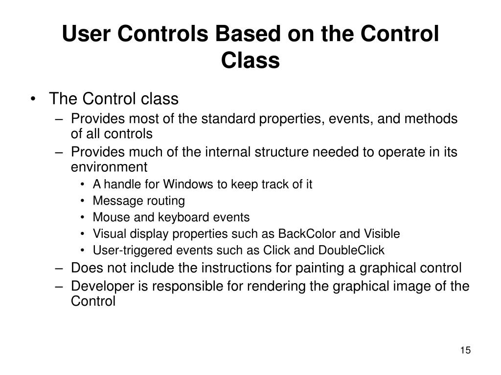 User Controls Based on the Control Class