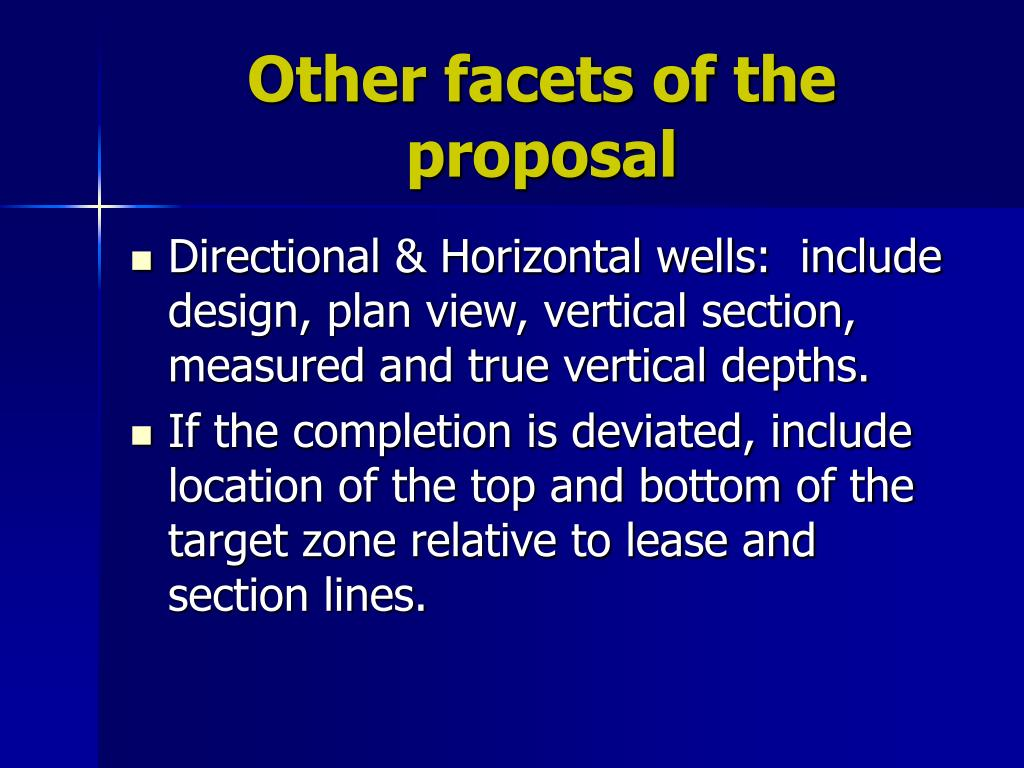 Other facets of the proposal