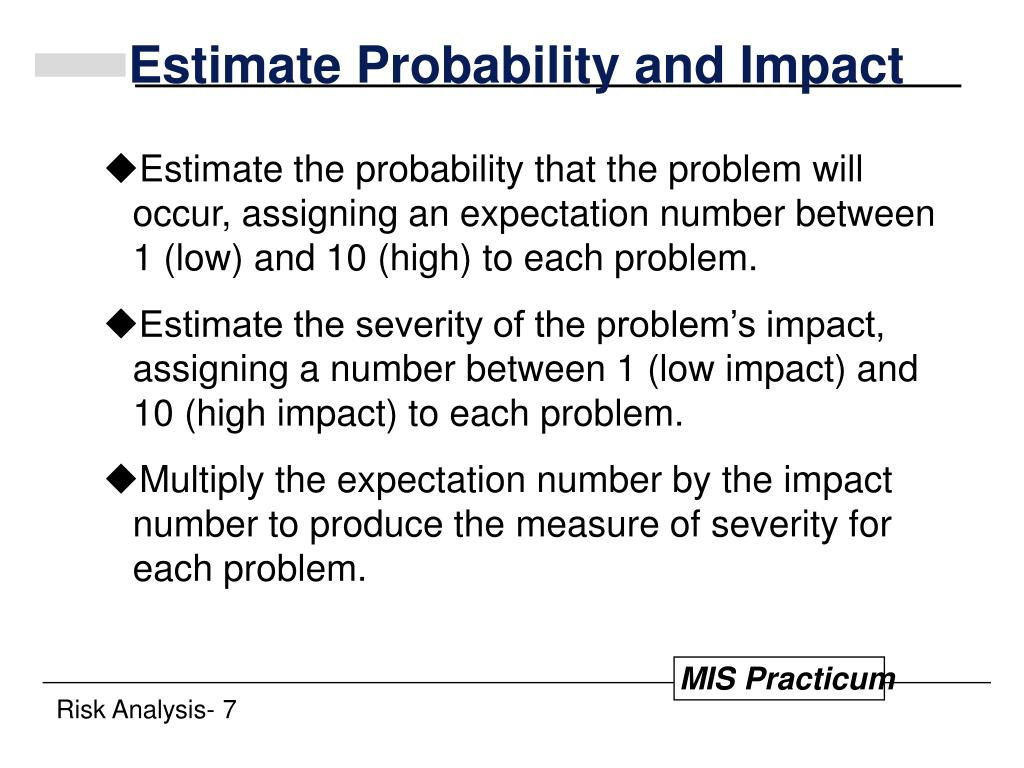 Estimate Probability and Impact
