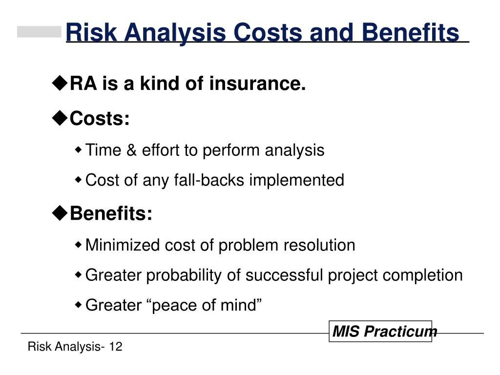 Risk Analysis Costs and Benefits