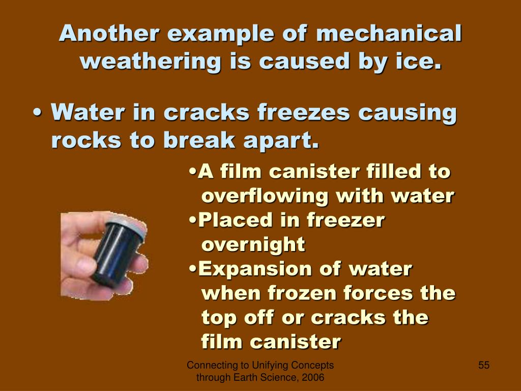 Another example of mechanical weathering is caused by ice.