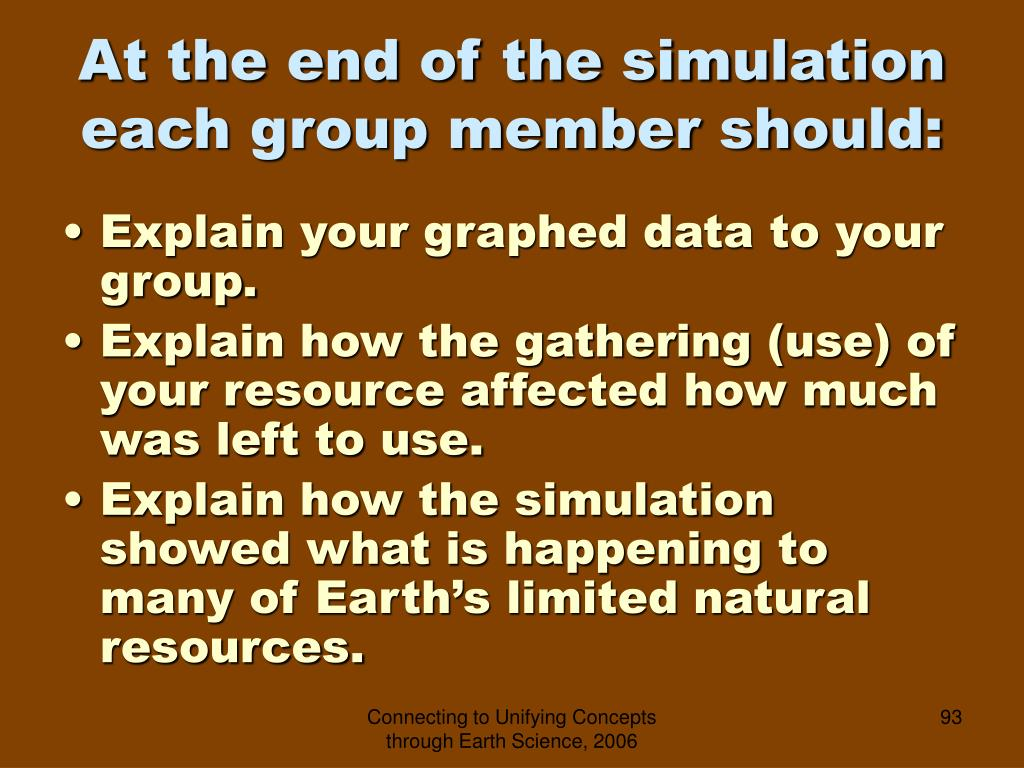 At the end of the simulation each group member should: