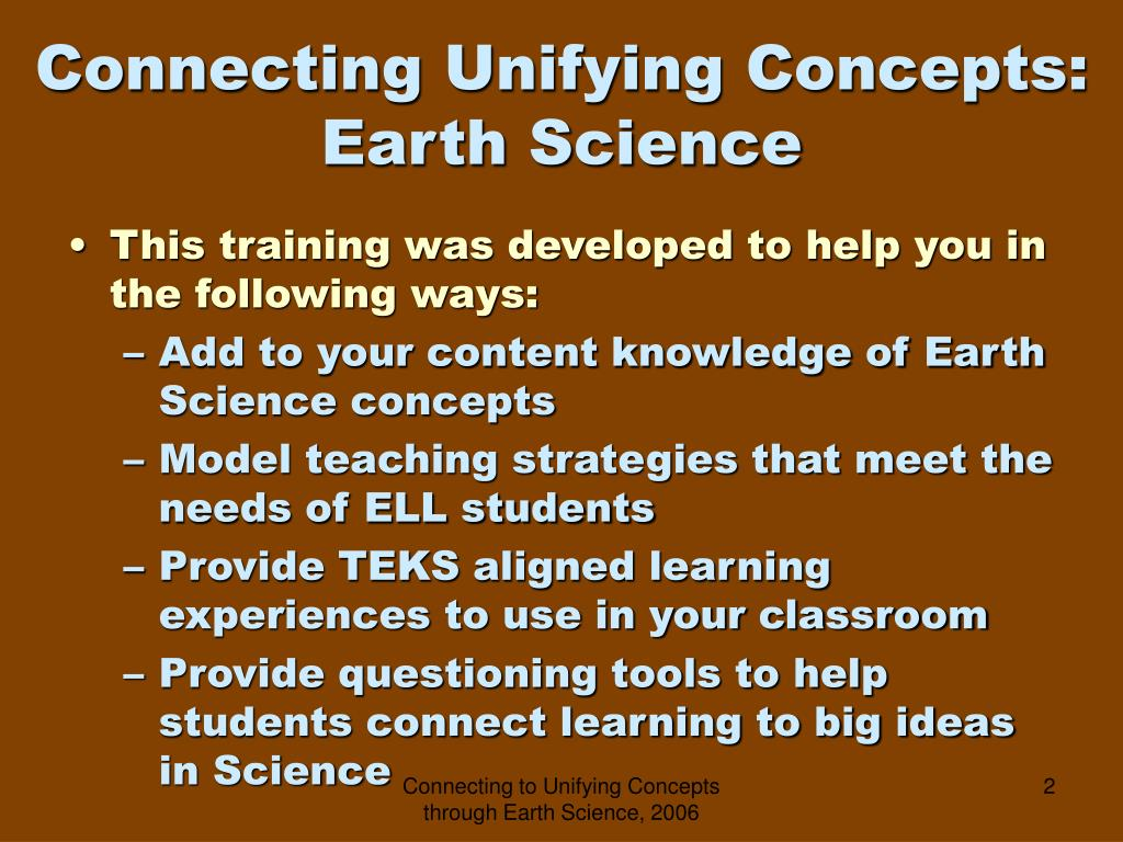 Connecting Unifying Concepts:
