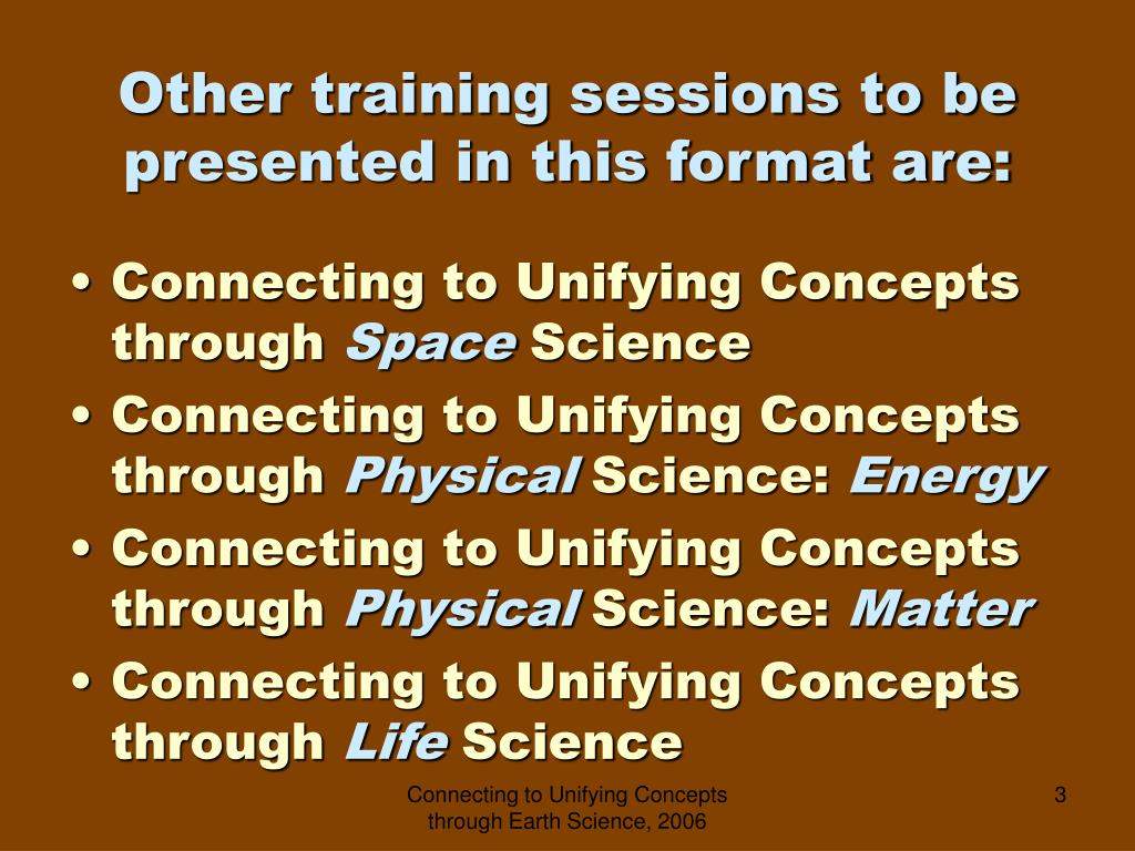 Other training sessions to be presented in this format are: