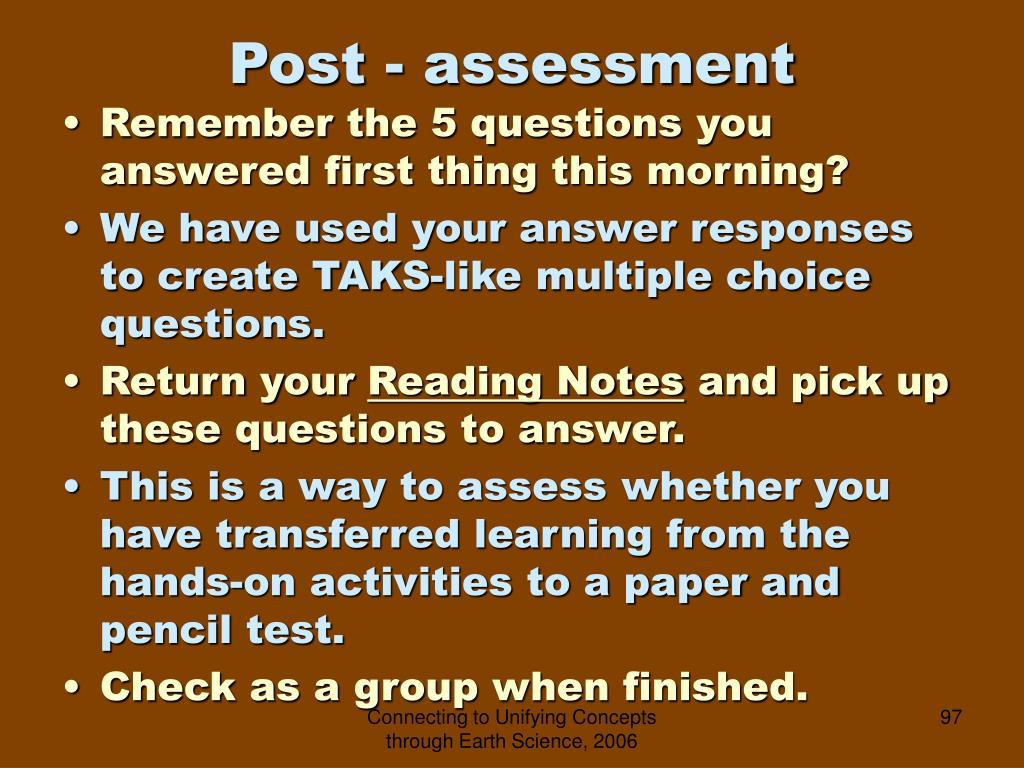 Post - assessment
