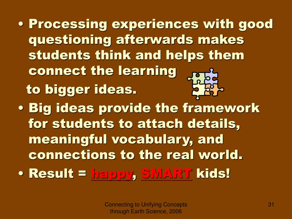 Processing experiences with good questioning afterwards makes students think and helps them connect the learning