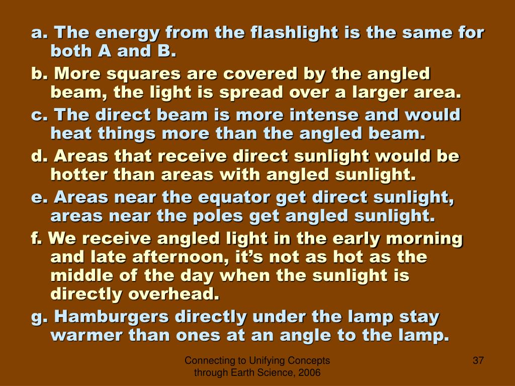 a. The energy from the flashlight is the same for   both A and B.