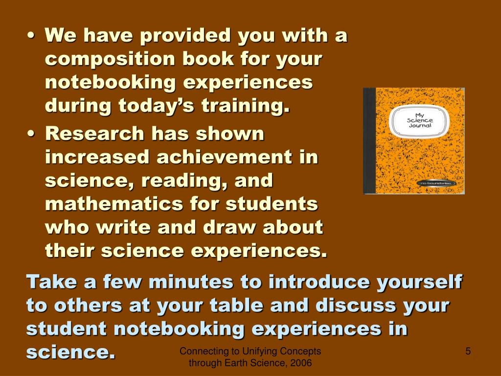 We have provided you with a composition book for your notebooking experiences during today's training.