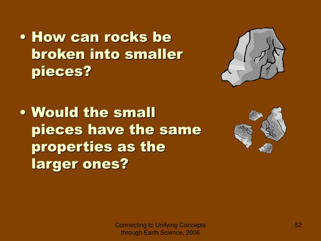How can rocks be broken into smaller pieces?