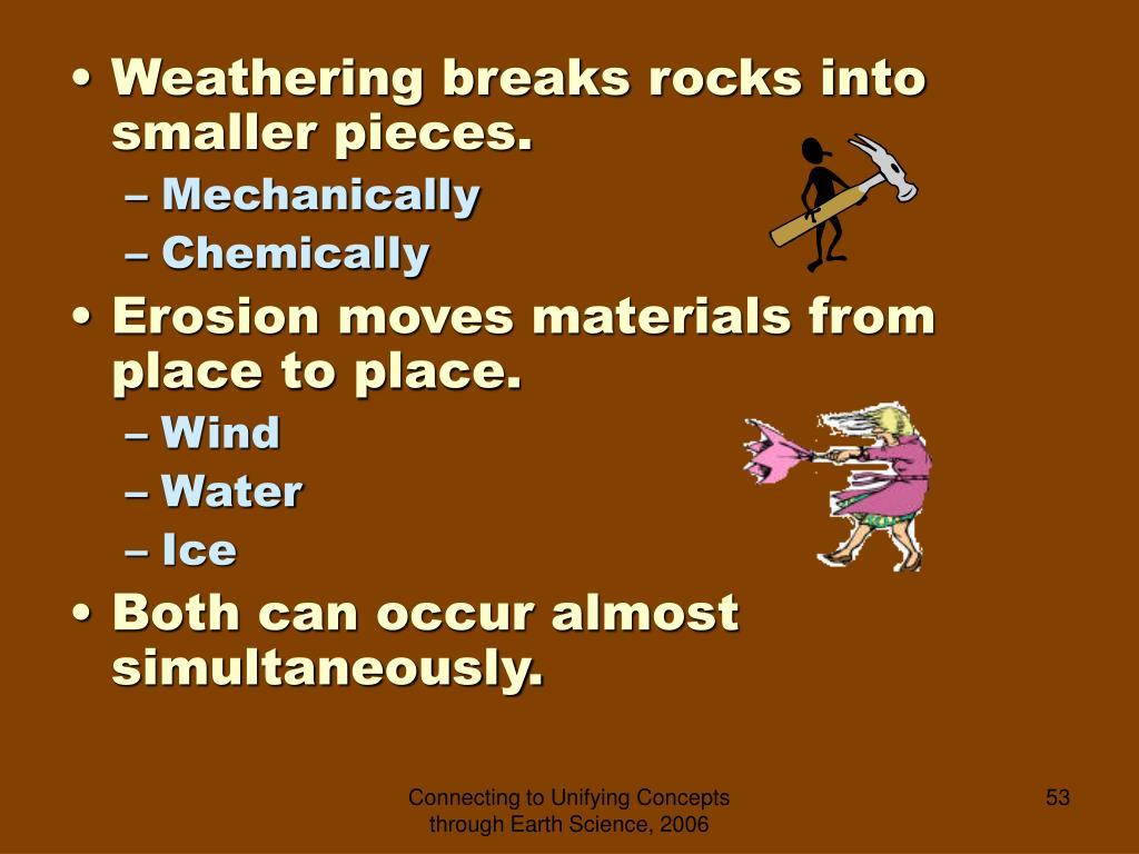 Weathering breaks rocks into smaller pieces.