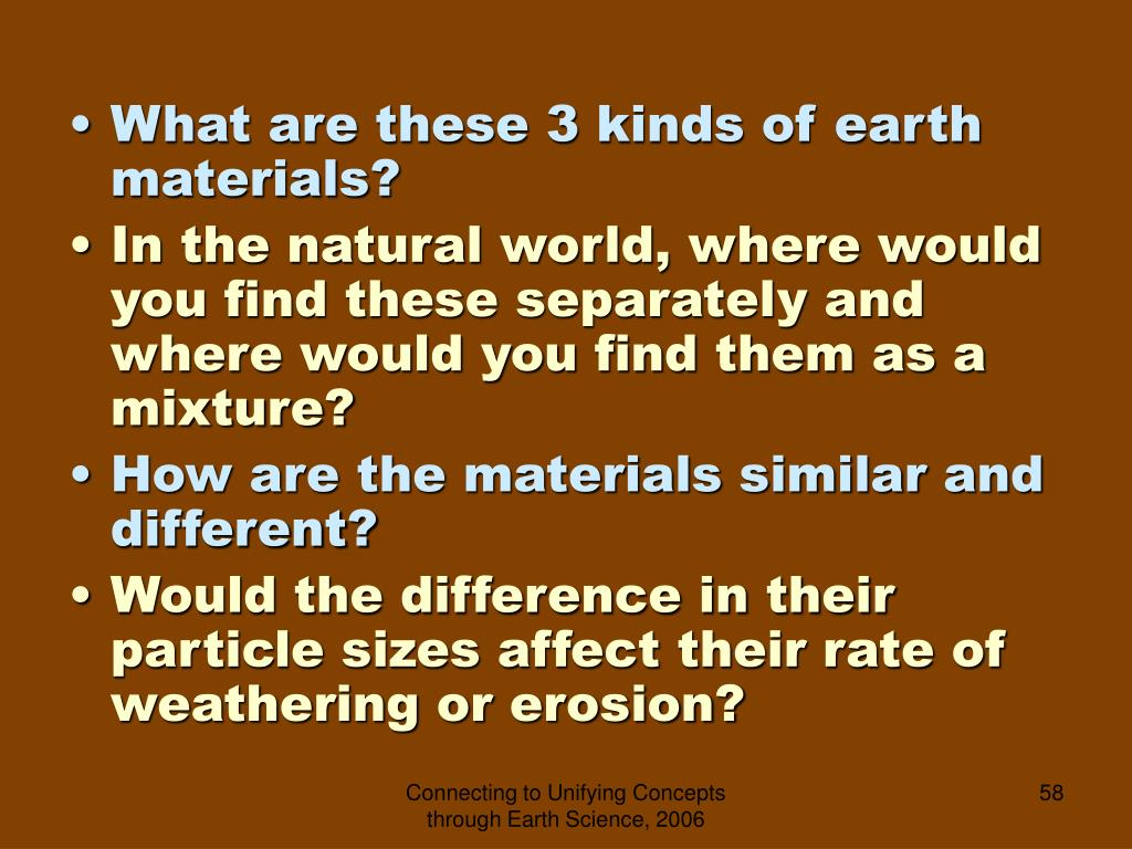 What are these 3 kinds of earth materials?