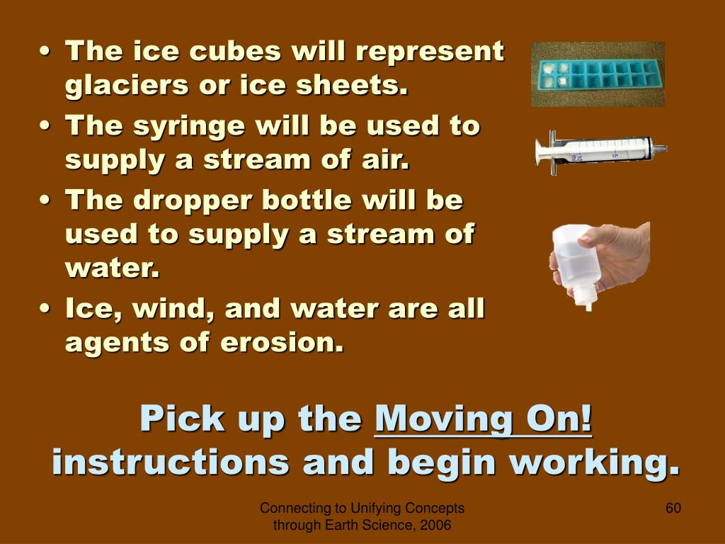 The ice cubes will represent glaciers or ice sheets.