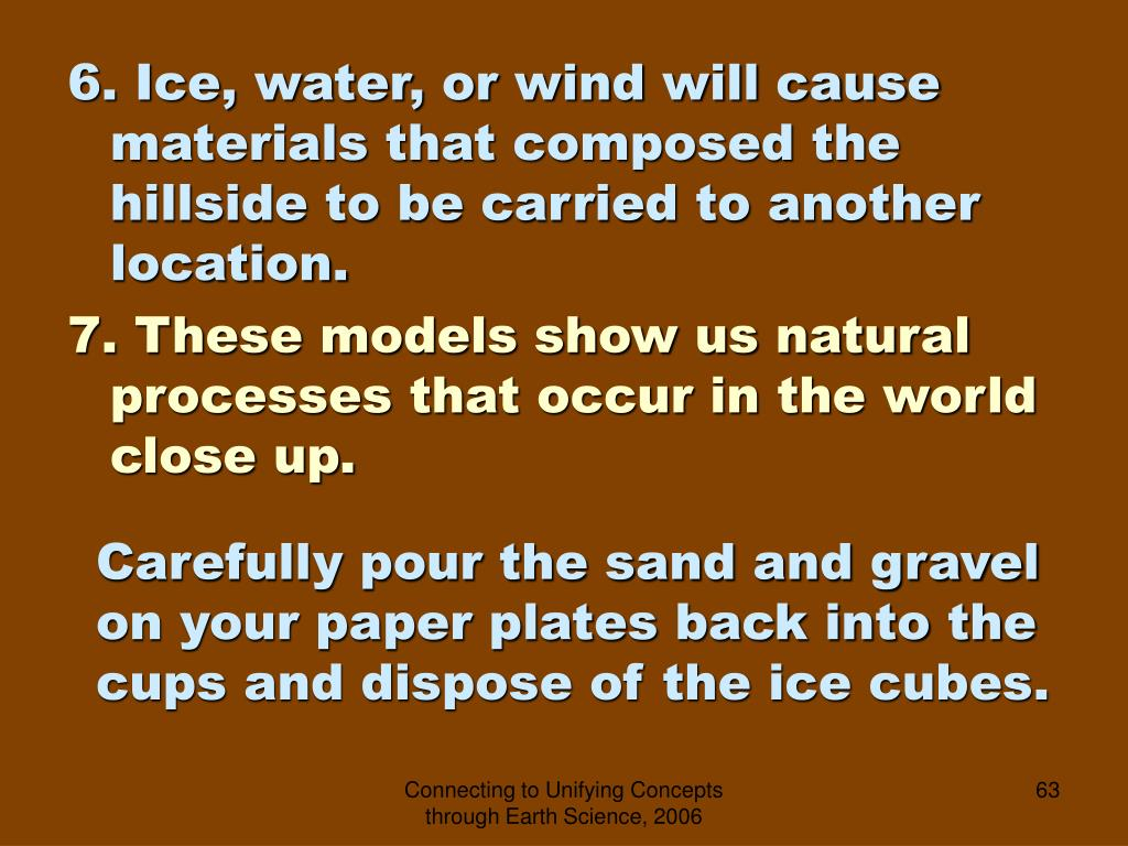 6. Ice, water, or wind will cause materials that composed the hillside to be carried to another location.