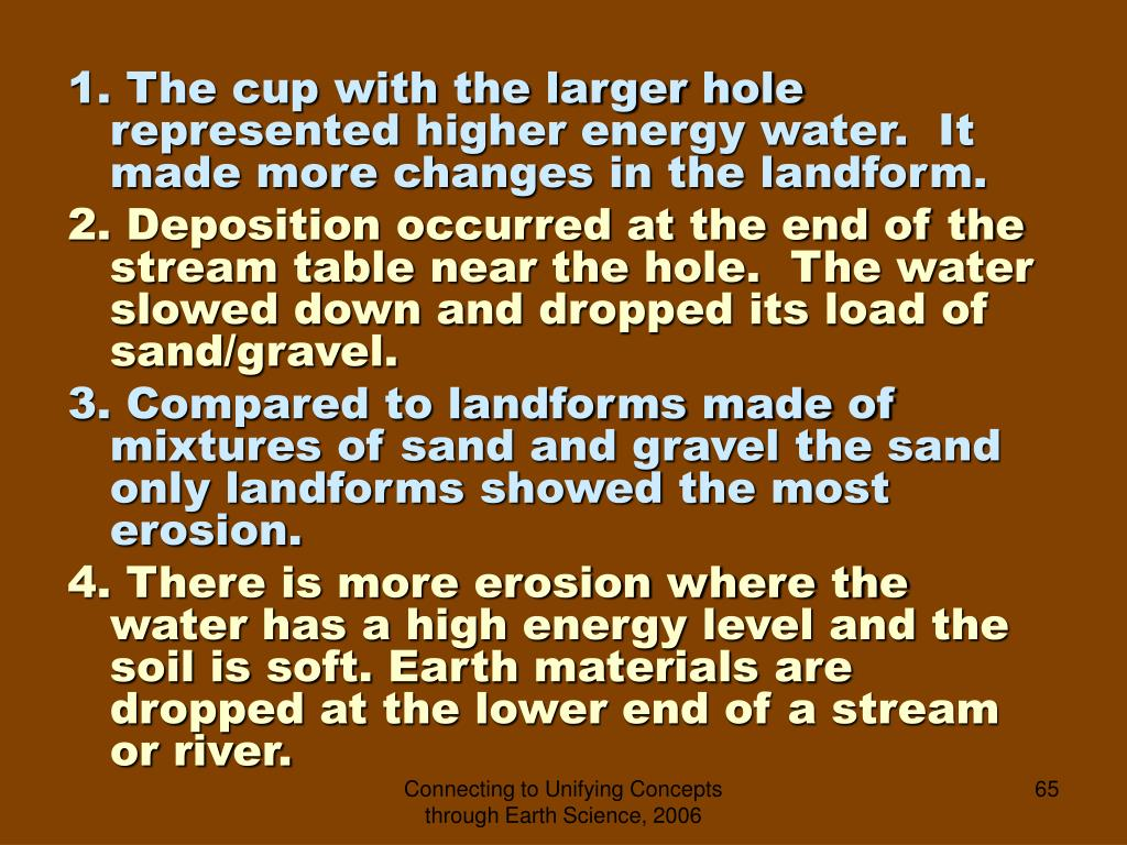 1. The cup with the larger hole represented higher energy water.  It made more changes in the landform.