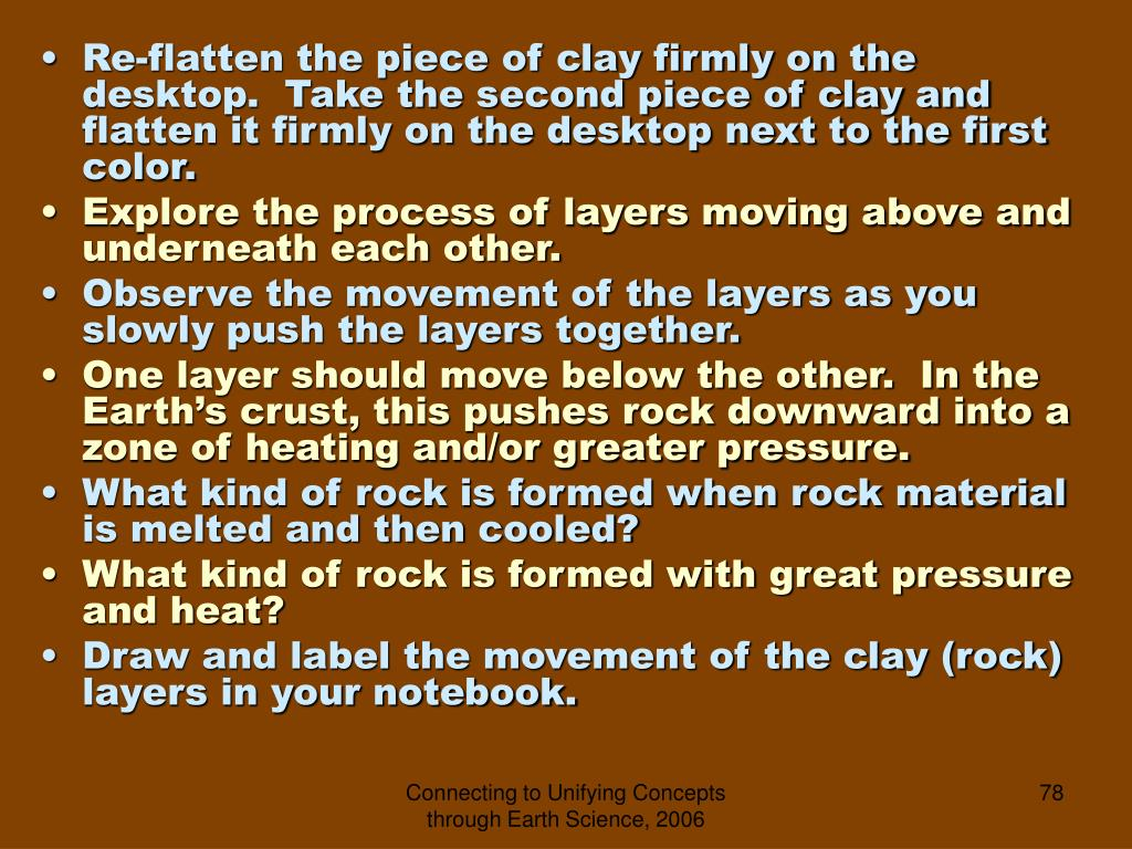 Re-flatten the piece of clay firmly on the desktop.  Take the second piece of clay and flatten it firmly on the desktop next to the first color.