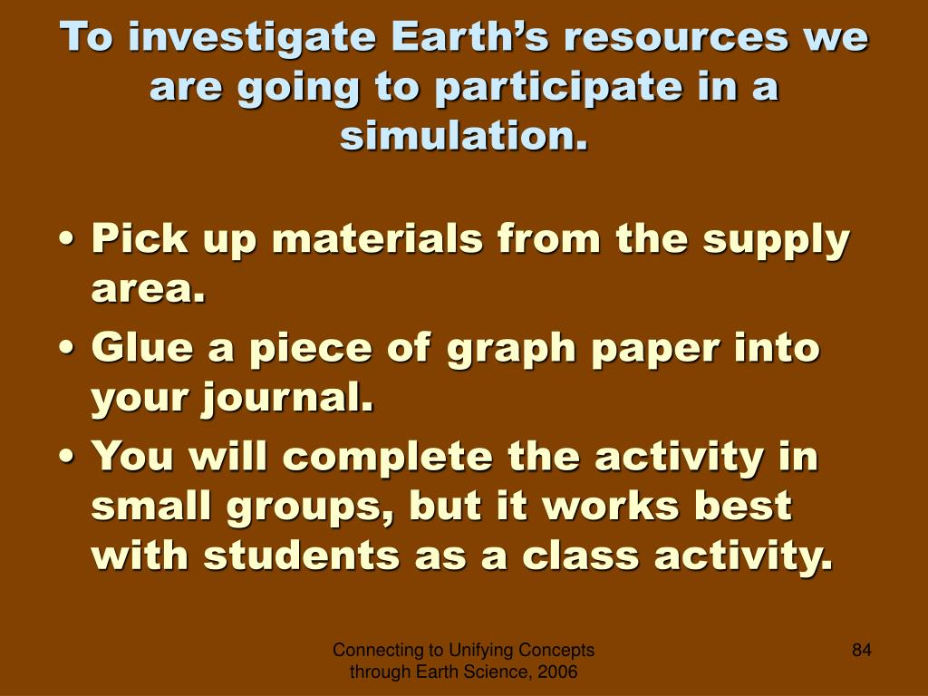 To investigate Earth's resources we are going to participate in a simulation.