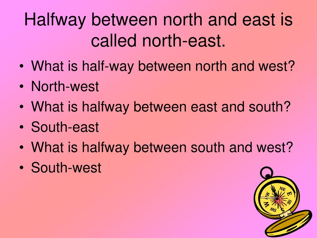 Halfway between north and east is called north-east.