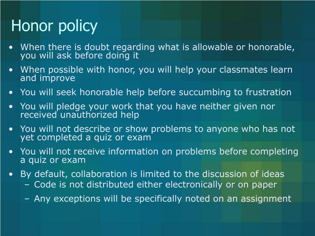 Honor policy