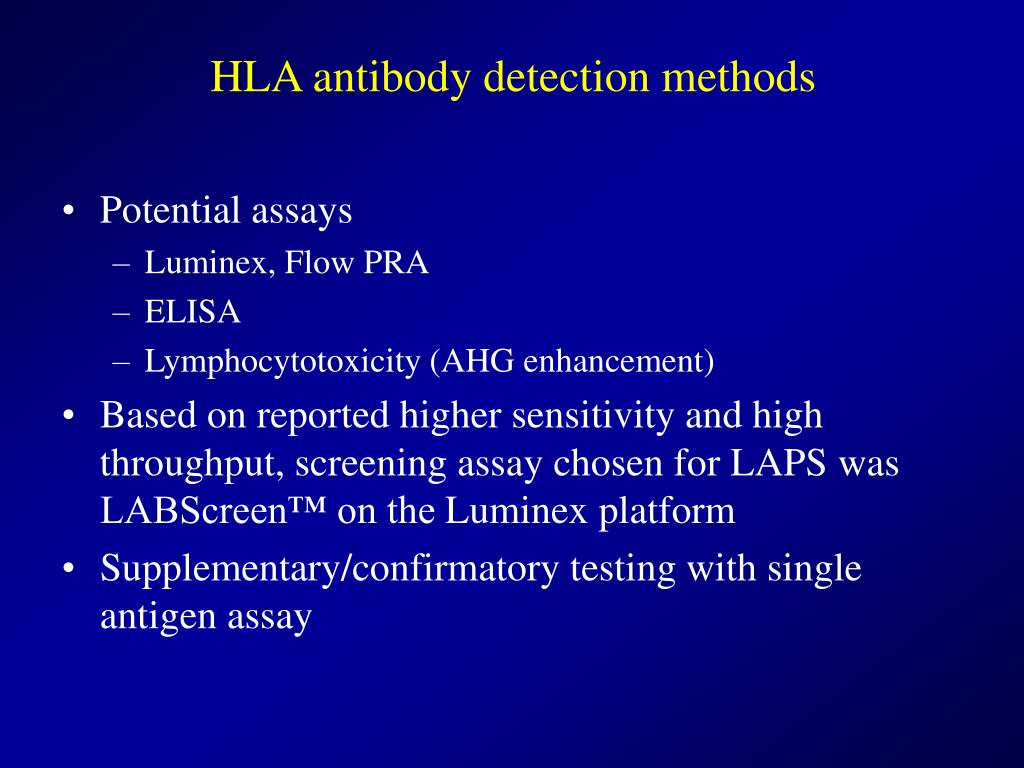 HLA antibody detection methods