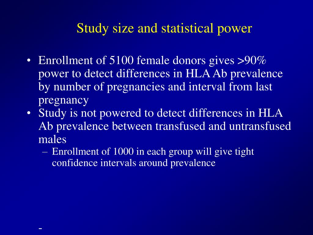 Study size and statistical power