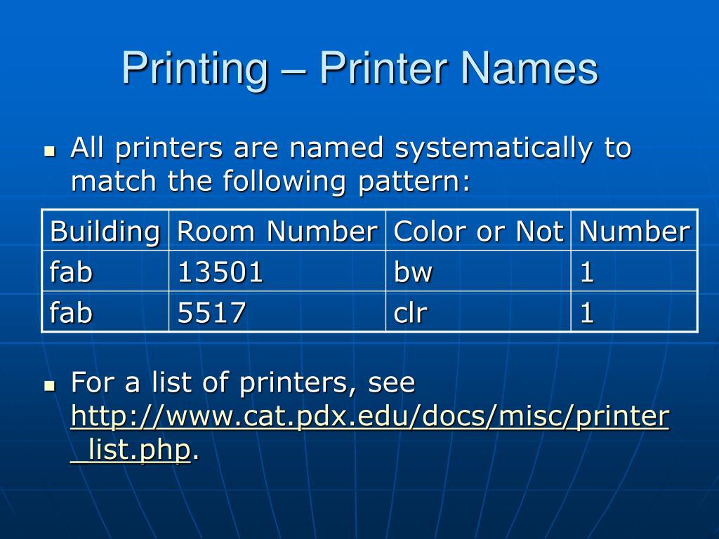 Printing – Printer Names