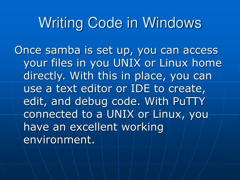 Writing Code in Windows