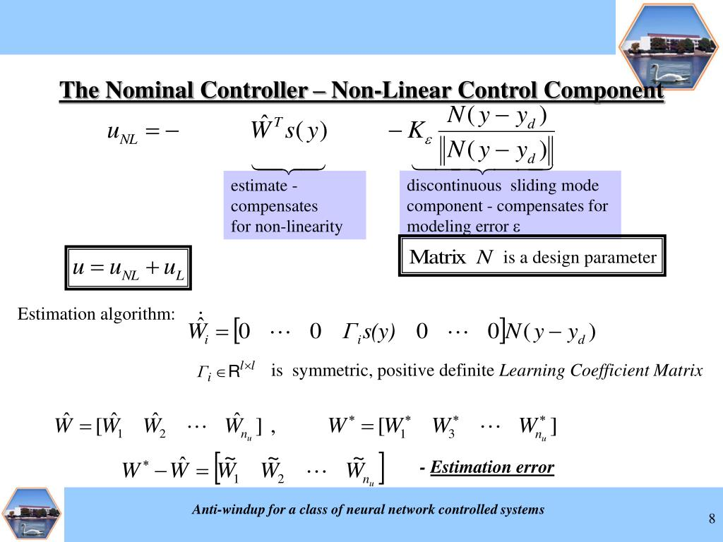 discontinuous  sliding mode component - compensates for modeling error