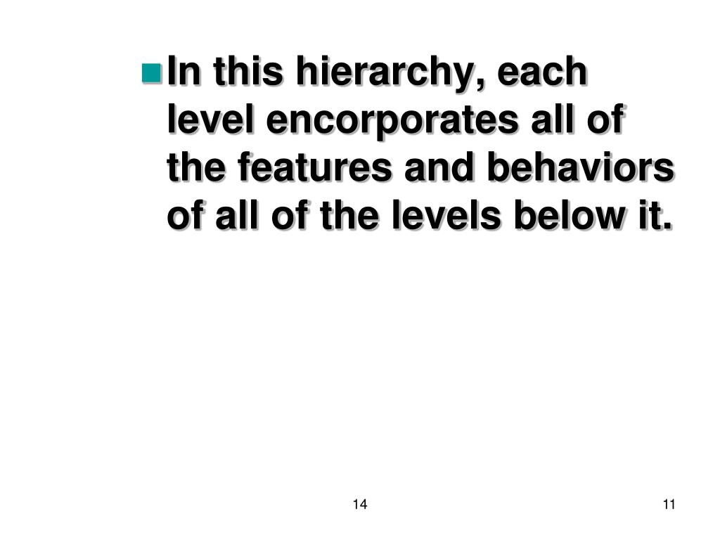 In this hierarchy, each level encorporates all of the features and behaviors of all of the levels below it.