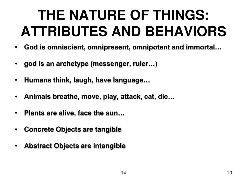 THE NATURE OF THINGS: