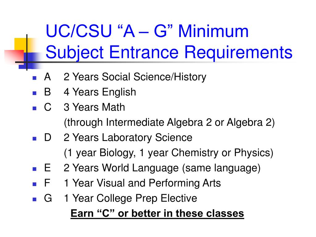 "UC/CSU ""A – G"" Minimum Subject Entrance Requirements"