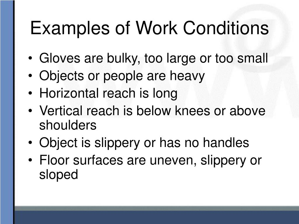 Examples of Work Conditions