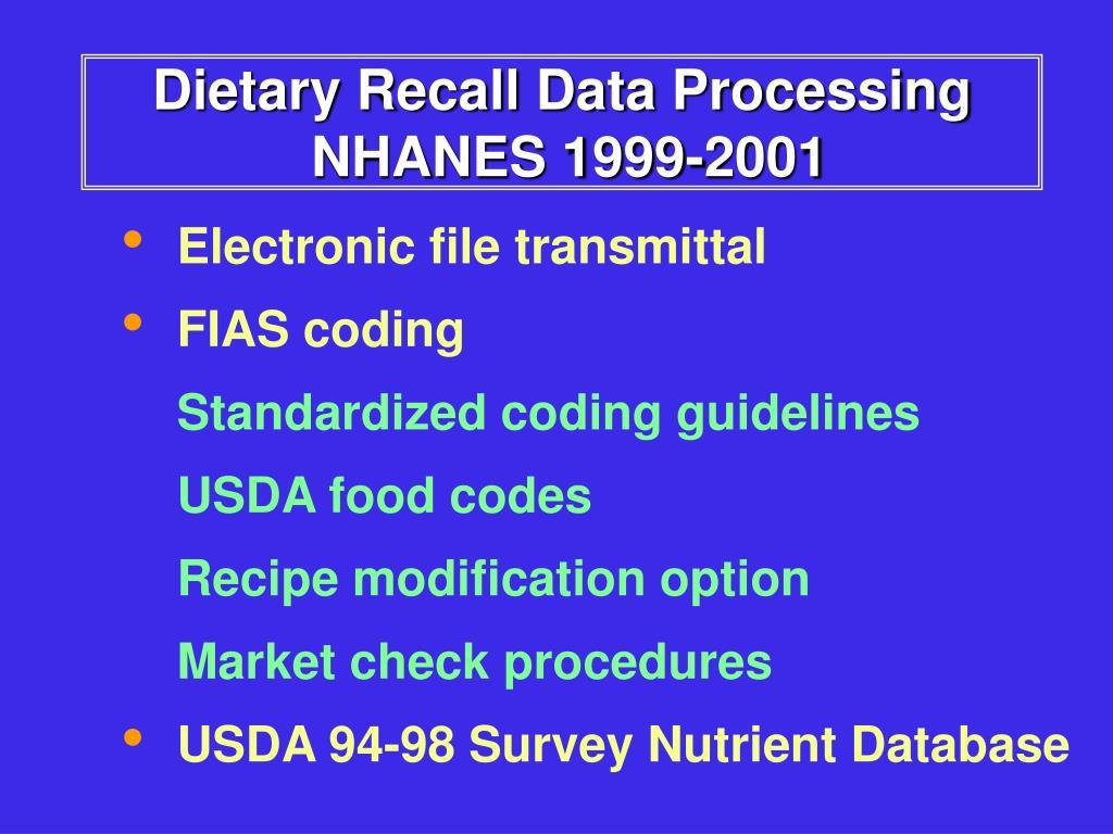 Dietary Recall Data Processing
