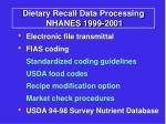 dietary recall data processing nhanes 1999 2001