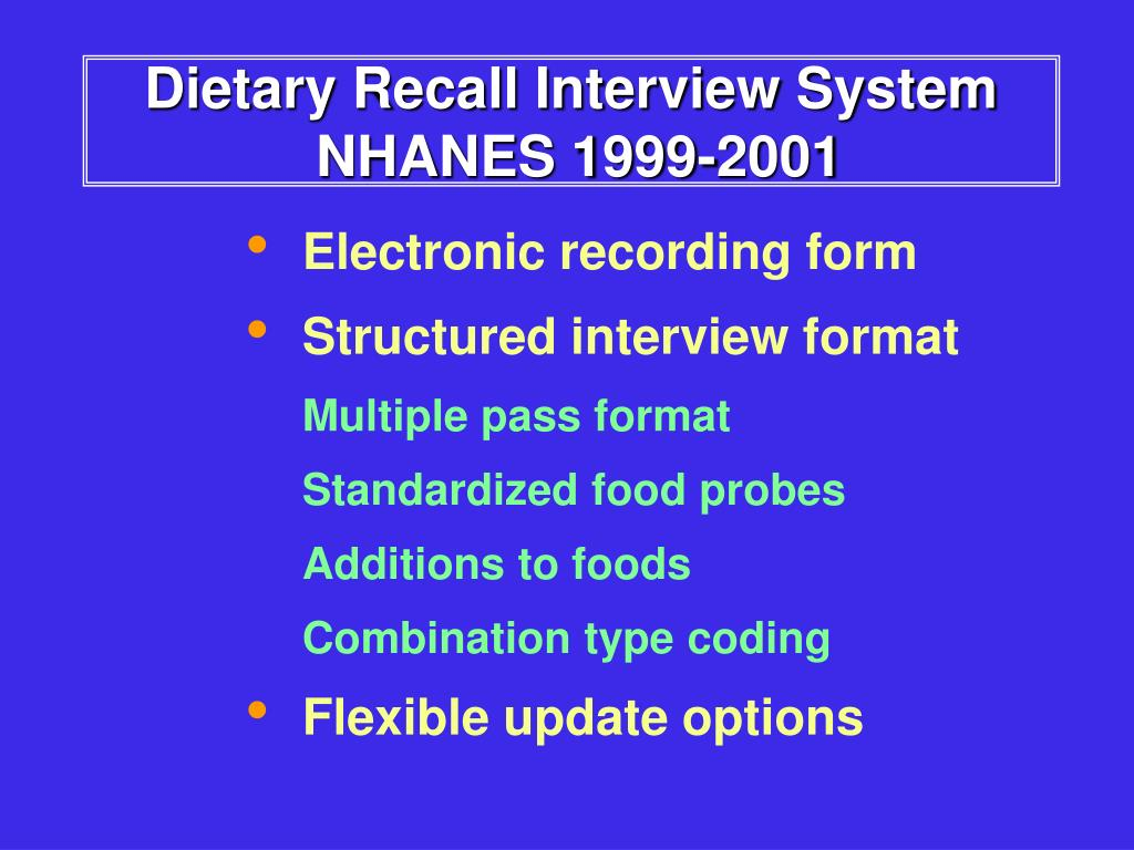 Dietary Recall Interview System