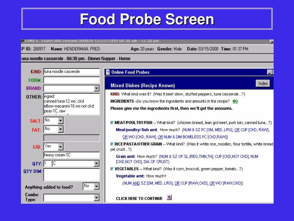 Food Probe Screen