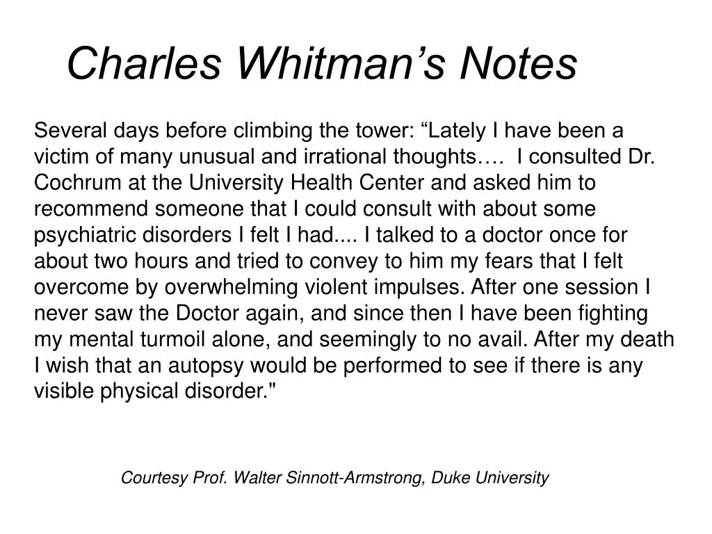 Charles Whitman's Notes