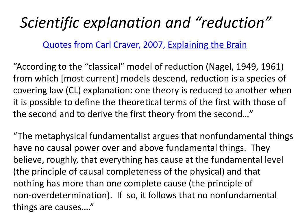 """Scientific explanation and """"reduction"""""""