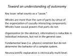 toward an understanding of autonomy