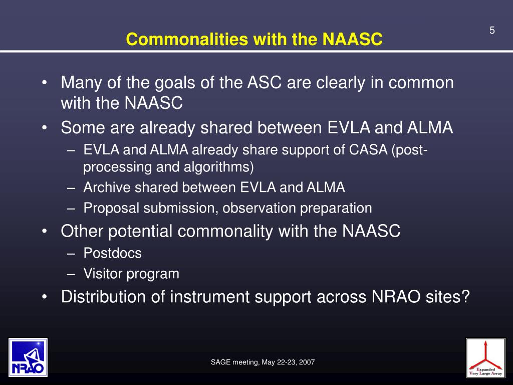 Commonalities with the NAASC