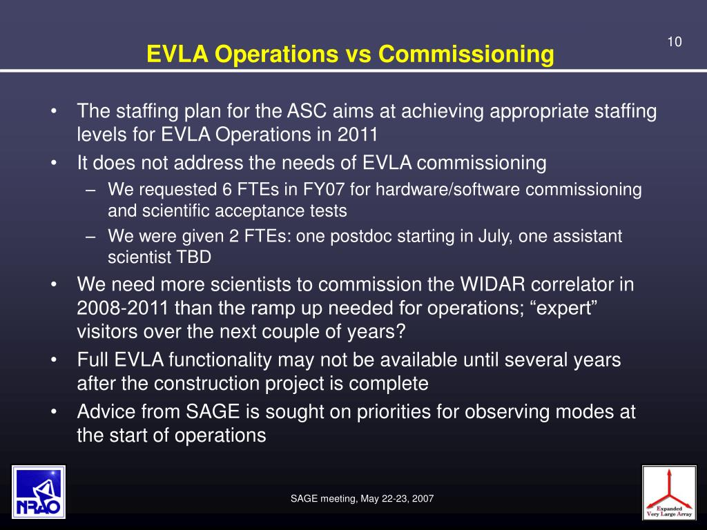 EVLA Operations vs Commissioning