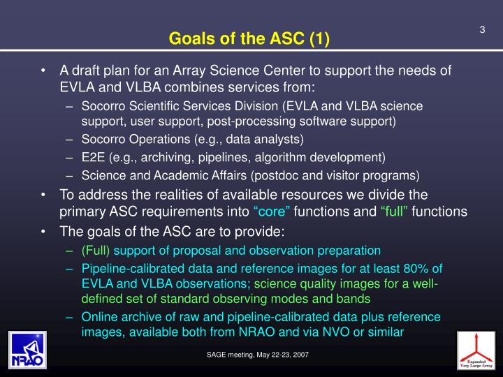 Goals of the asc 1
