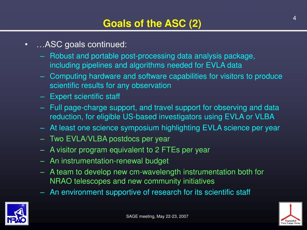 Goals of the ASC (2)