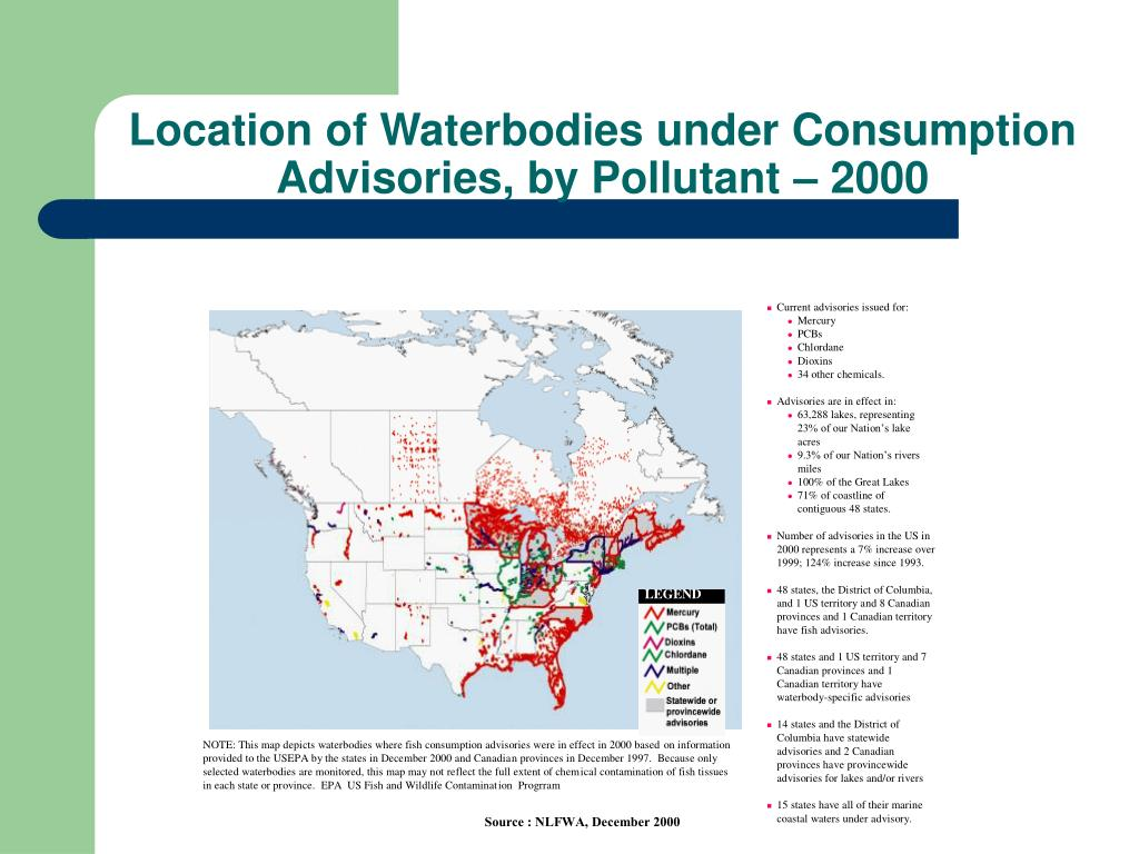 Location of Waterbodies under Consumption Advisories, by Pollutant – 2000