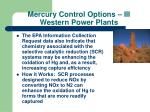 mercury control options iii western power plants