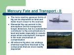 mercury fate and transport ii