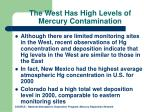 the west has high levels of mercury contamination