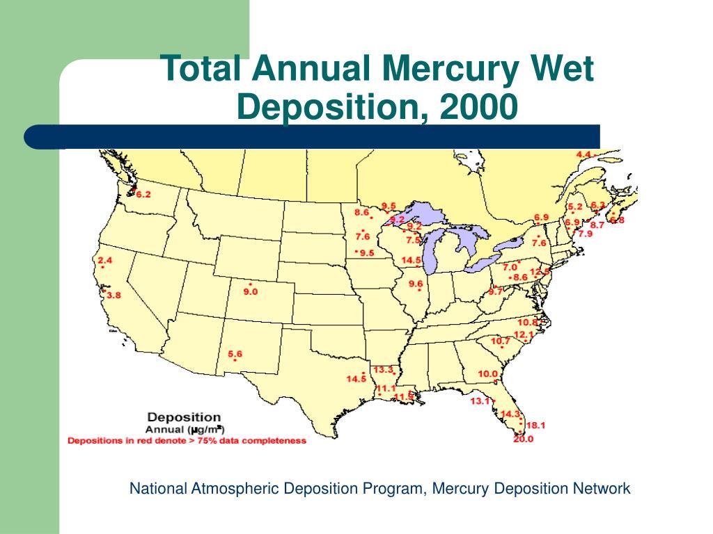 Total Annual Mercury Wet Deposition, 2000