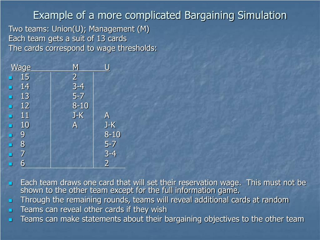 Example of a more complicated Bargaining Simulation